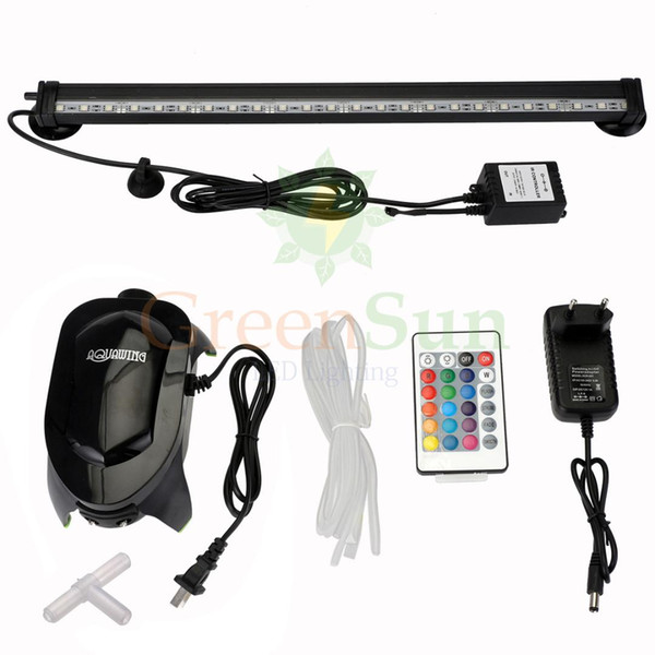 42cm underwater aquarium fish tank air bubble light rgb led submersible lamp + increase oxygen air pump + ir remote
