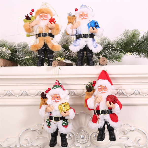 1 pcs christmas decoration pendants toy outside xmas tree hanging ornament santa claus elk doll for home decoration kids gift