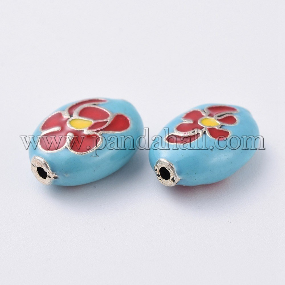 Alloy Enamel Beads, Oval with Flower, LightSkyBlue, Antique Silver, 14x10.5x6mm, Hole: 1mm
