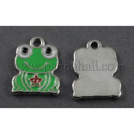 Alloy Enamel Pendants, Frog, Lead Free & Cadmium Free & Nickel Free, LimeGreen, about 17mm long, 19mm wide, 1mm thick, hole:1.5mm