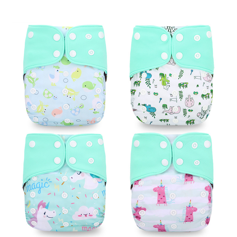 4-pack Waterproof Adjustable Cartoon Animal Print Cloth Diapers