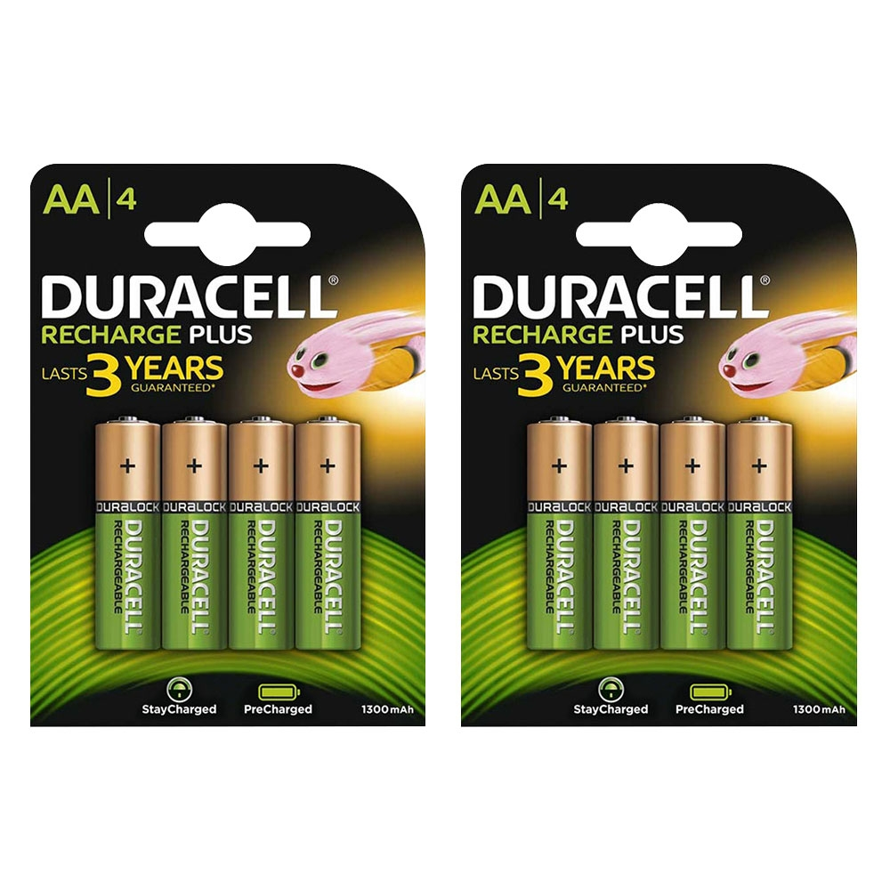 Duracell Recharge Plus Rechargeable AA HR06 Ni-Mh Batteries 1300mAh - 8 Pack