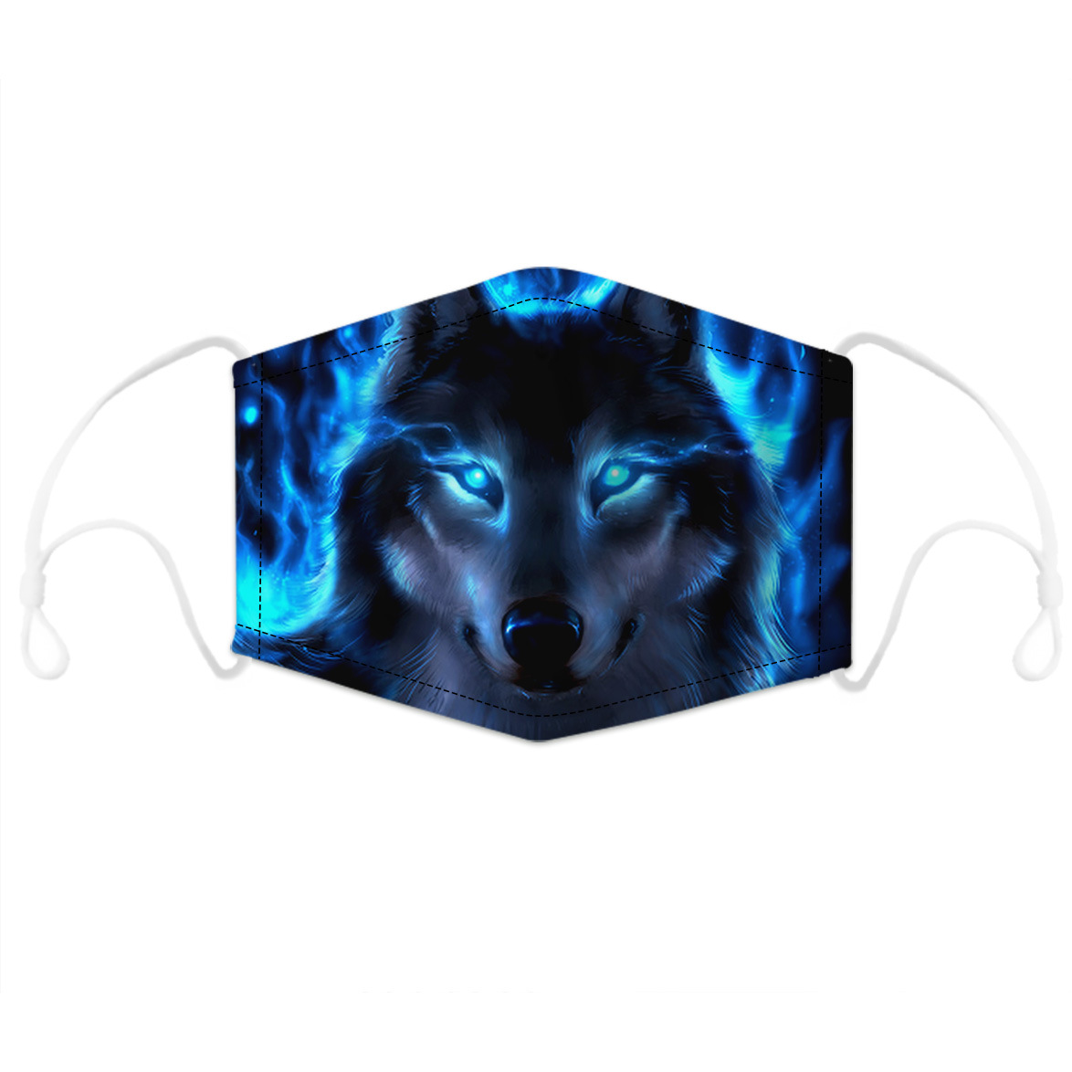 2-Layer Wolf Printed Woven Shell Half Face Mask (Include Two Replaceable Filters)