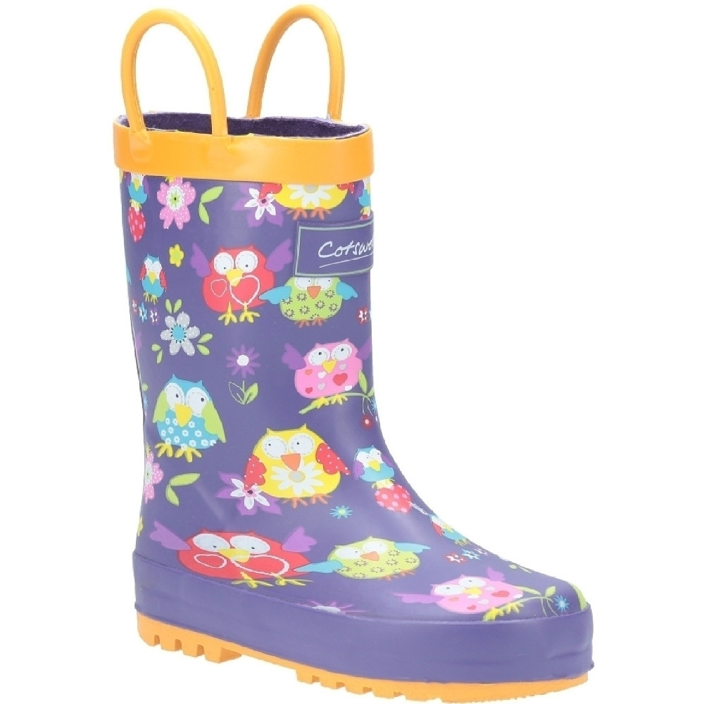 Cotswold Girls Puddle Patterned Rubber Welly Wellington Boots UK Size 11 (EU 30)