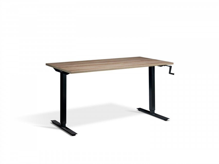 Lavoro Solo Grey Nebraska Oak Hand Crank Height Adjustable Desk - Black Frame - 1600x700mm
