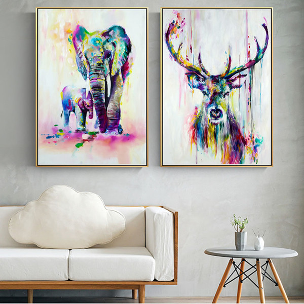 watercolor animals canvas art wall paintings elephant and deer abstract graffiti art prints wall posters for kids room