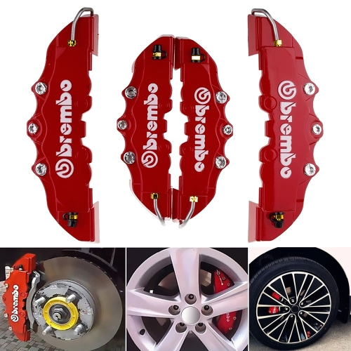 2PCS High Quality ABS Plastic Car Truck Brake Caliper Covers 3D Red Useful Car Universal Disc Brake Caliper Covers