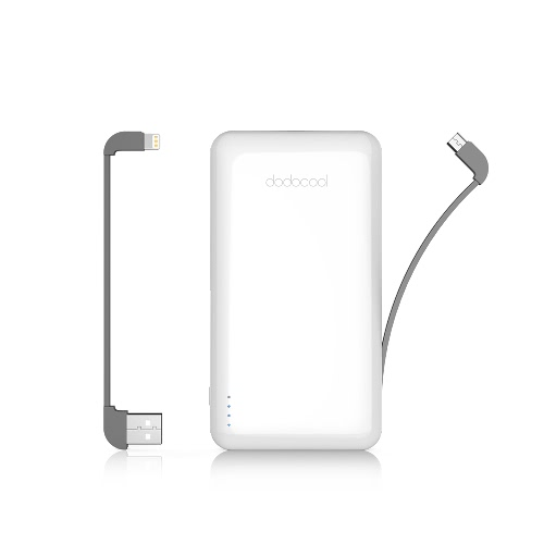 dodocool MFi Certified Ultra Slim 10000 mAh 2-Port Power Bank Portable Charger Backup External Lithium Polymer Battery Pack with Detachable Lightning Cable and Micro-USB Cable for iPhone X / iPhone 8 Plus / iPhone 8 / iPhone 7 Plus / iPhone 7 / iPhone SE/