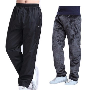 Plus Size Pants Winter Elastic Waist Loose Fit Thick Warm Fleece Lined Casual Pants for Men