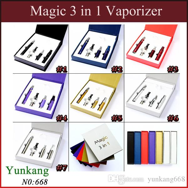 E Cigarette Magic 3 in 1 Electronic Cigarettes with Wax dry herb vaporizerAgo MT3 Glass Globle atomizer EVOD battery vaporizer pen Magic Kit