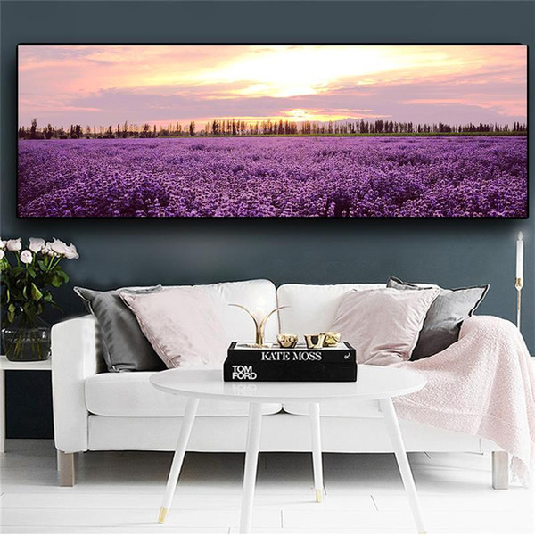 lavender sunset nordic landscape posters and prints wall art pictures painting wall art for living room home decor (no frame)