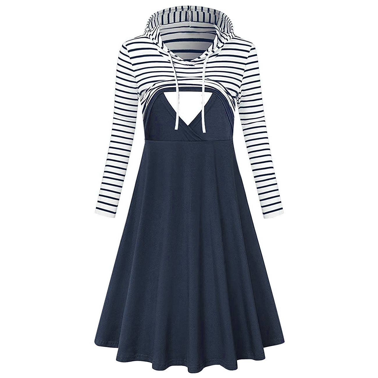 Casual Striped Long-sleeve Hooded Nursing Dress
