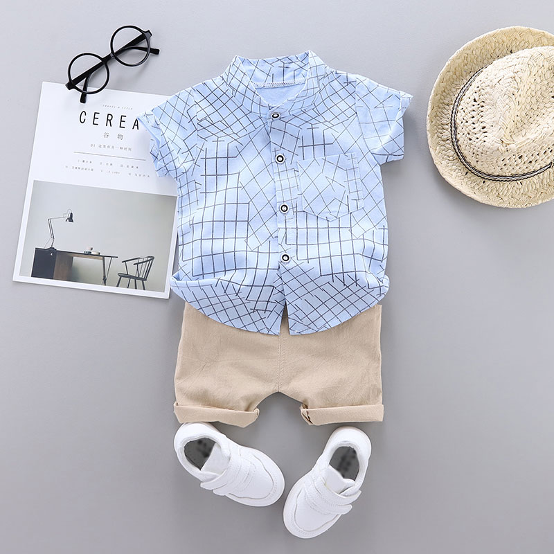 Plaid Short-sleeve Shirt and Solid Pants Set