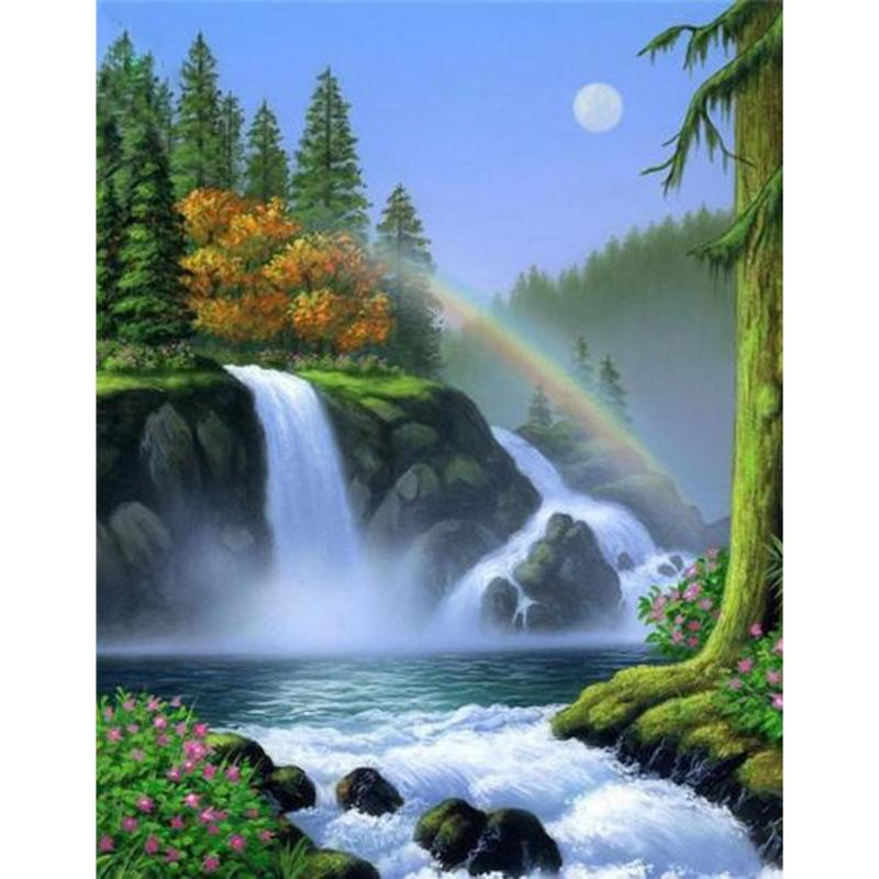 RAINBOW WATERFALL 5D DIY Mosaic Needlework Diamond Painting Embroidery Cross Stitch Craft Kit Wall Home Hanging Decor