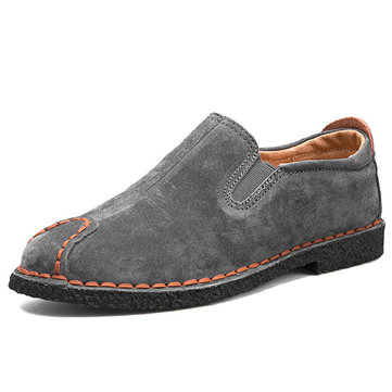 Men Cow Leather Hand Stitching Casual Shoes