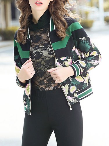 Green Color Block Jacquard Long Sleeve Cropped Jacket