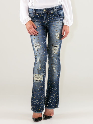 Blue Ripped Denim Embellished Street Jeans