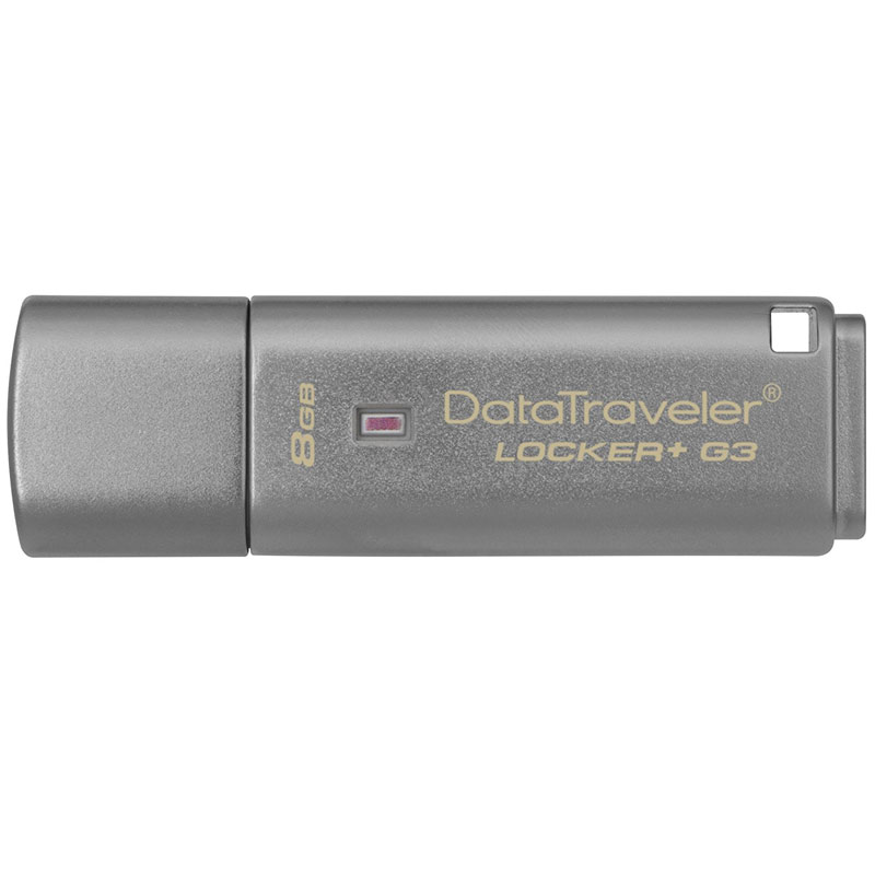 Kingston 8GB DataTraveler Locker+ G3 USB 3.0 Flash Drive - 80Mb/s - Cloud Back-Up