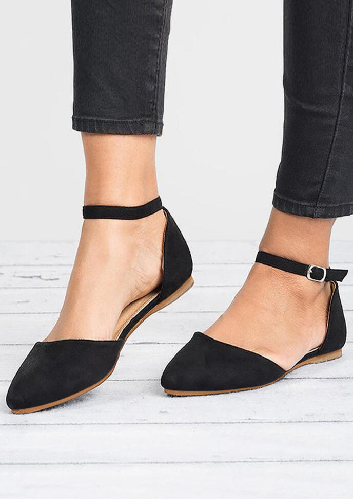 Solid Ankle Strap Flats