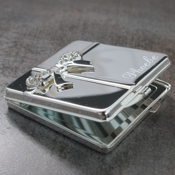 Personalised Silver Plated Compact Mirror with Bow