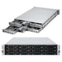 Super Micro Supermicro SuperServer 6027TR-HTQRF - 4 Knoten - Cluster - Rack-Montage - 2U - zweiweg - kein HDD - MGA G200eW - GigE, InfiniBand  (SYS-6027TR-HTQRF)