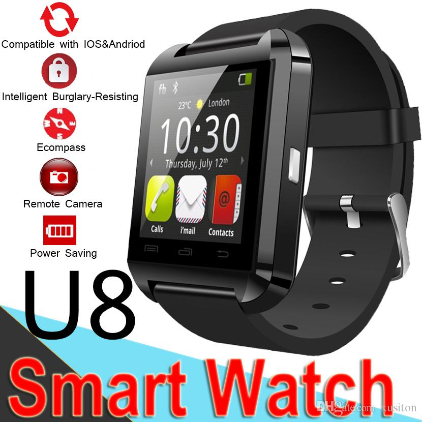 Bluetooth U8 Smartwatch Wrist Watches Touch Screen For iPhone7 SamsungS8 Android Phone Sleeping Monitor SmartWatch with Retail Package XCTU8