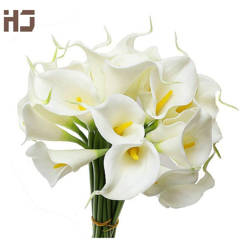 calla lily 2015 artificial flower PU real touch home decoration flowers 30pcs/lot wedding bouquet XZ014 Decorative Flowers