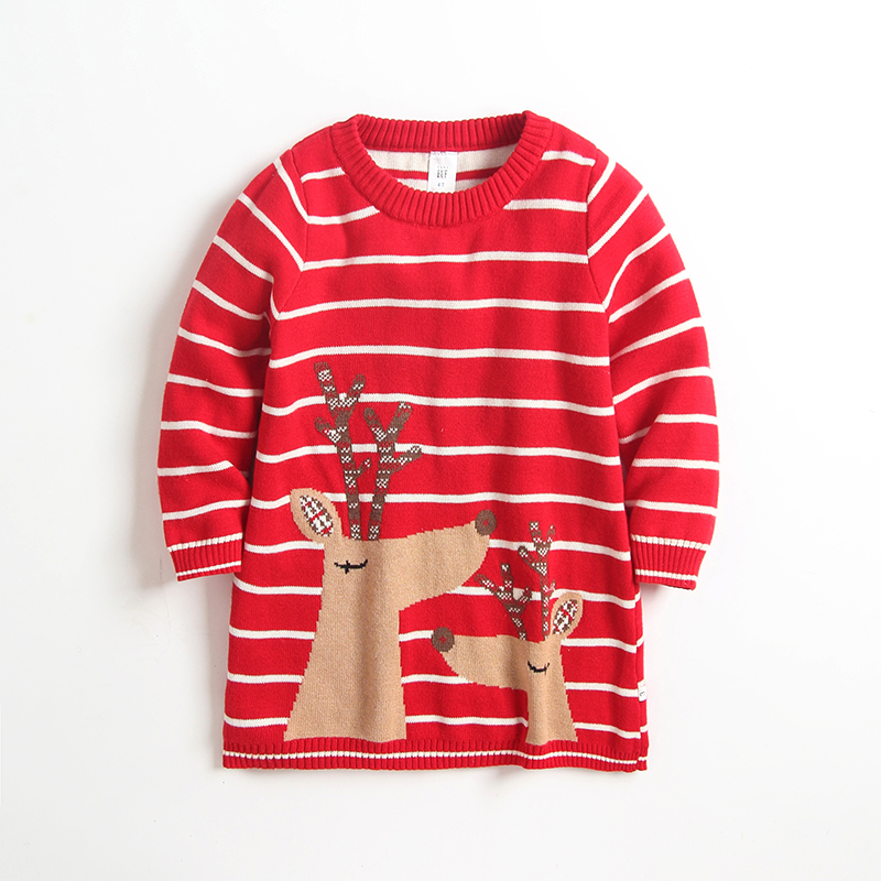Baby / Toddler Girl Christmas Reindeer Print Striped Knitwear