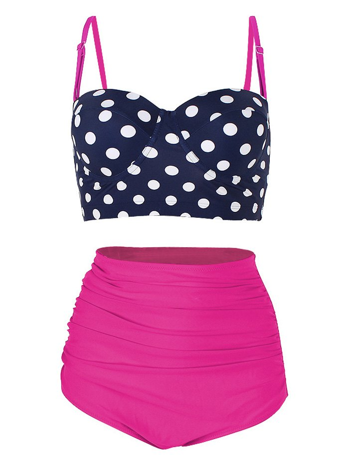 Polka Dot High Waist Underwire Bikini Set