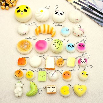 30Pcs Jumbo Kawaii Soft Squishy Lot Toast Bread Cell Phone Strap Panda Bun Cake