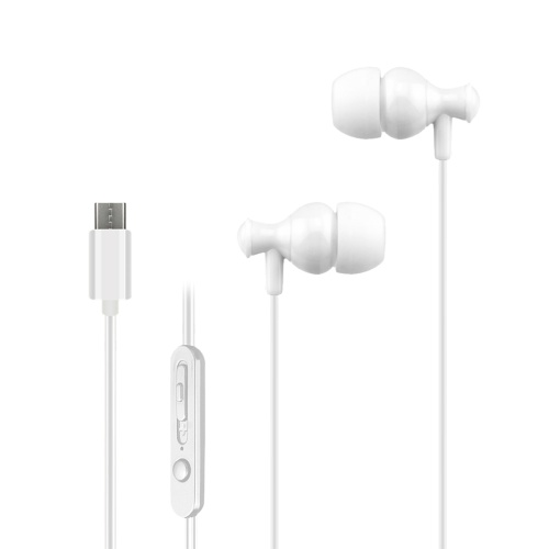 USB Type-c In-Ear Wired Earphone Headset USB C Earphone Earbuds In-line Control w/ Mic for Xiaomi 6 Note 3 MIX 2 Letv LeEco Le 2 3 Smartisan Pro Pro 2 White