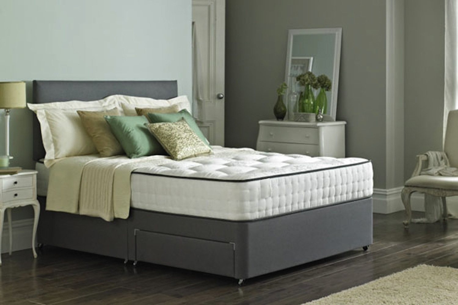 Bravo Memory Tufted Divan Bed-Small Double-Non Drawer