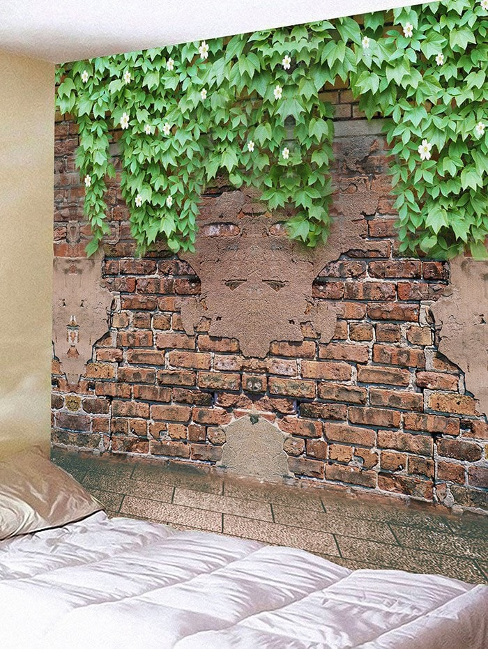 Bricks Wall Flowers Plants Print Hanging Tapestry