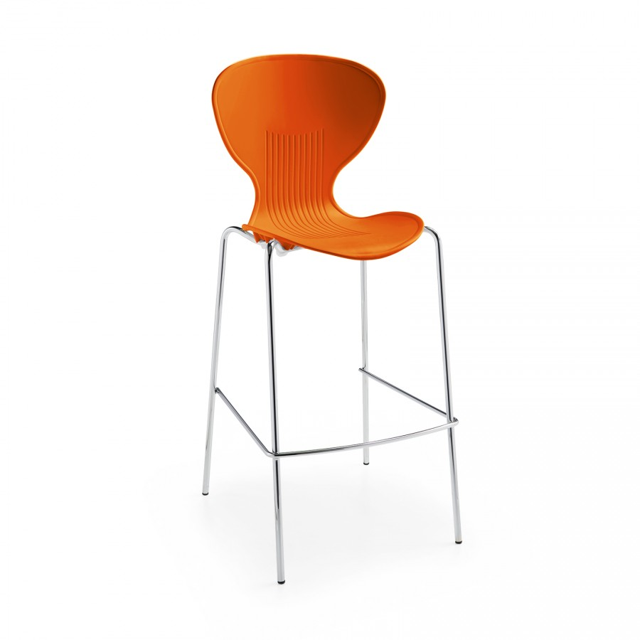 Sienna Orange Shell Stool with Chrome Legs- Pack of 2