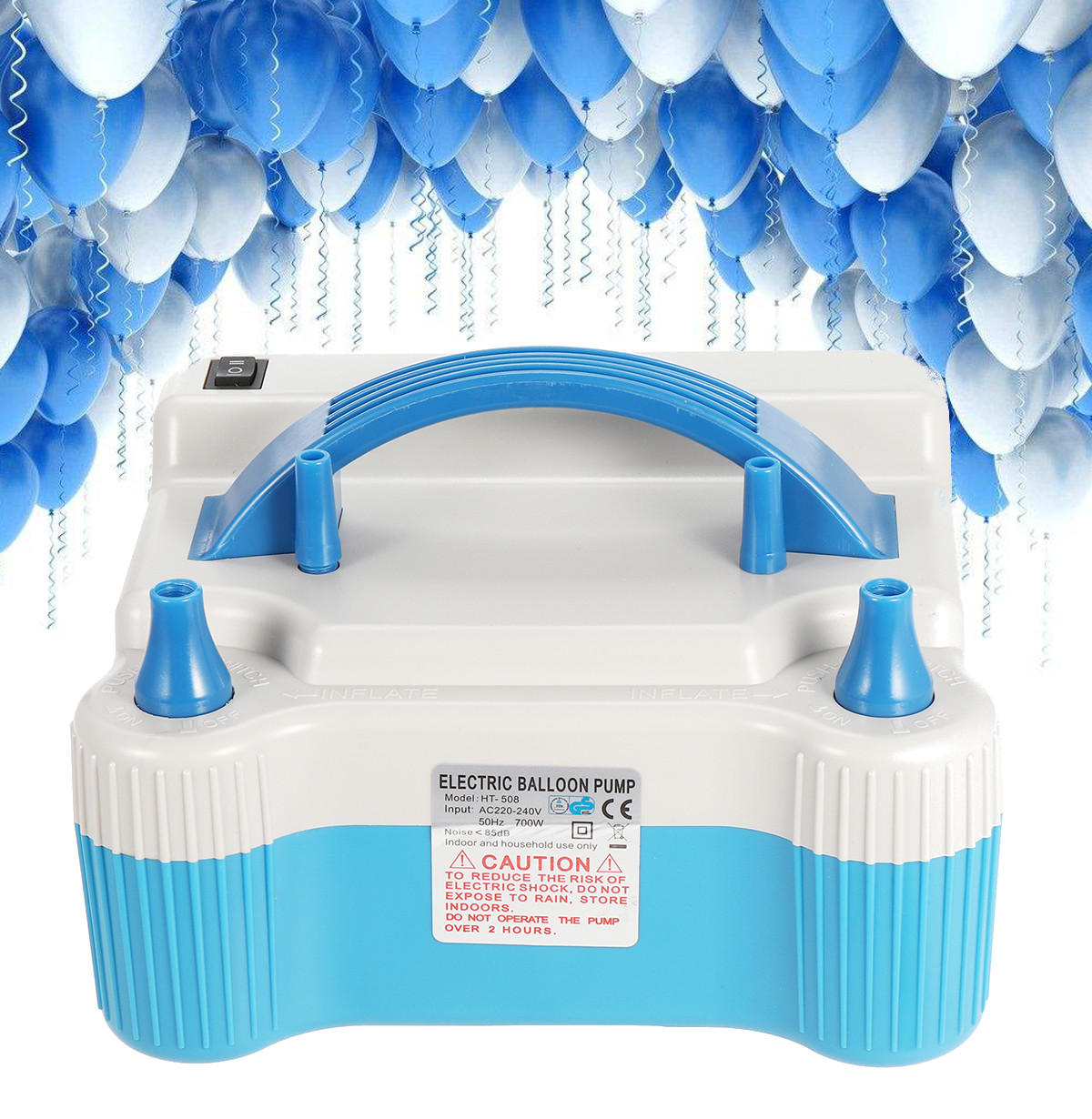 700W 220V Dual Tip Electric Balloon Air Pump Portable Inflator Blower Wedding Party
