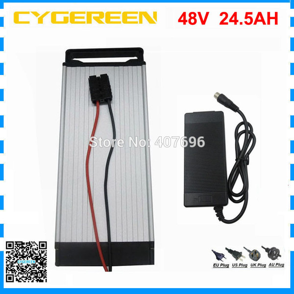 48v 25ah rear rack battery 48v 24.5ah lithium ebike battery pack with inr 35e 18650 cell with 50a bms 2a charger