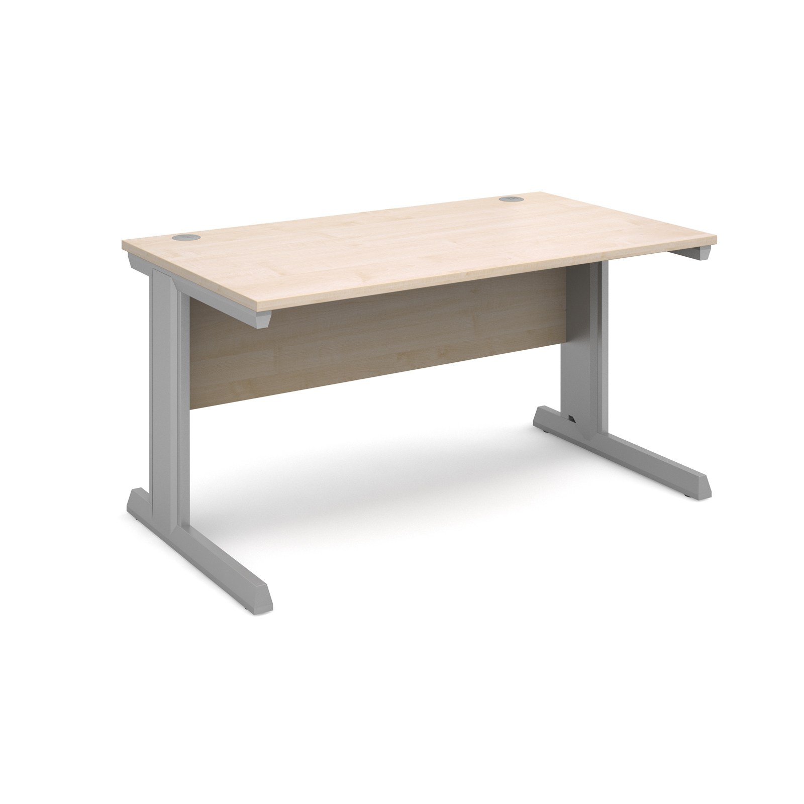 Vivo straight desk 1400mm x 800mm - silver frame, maple top