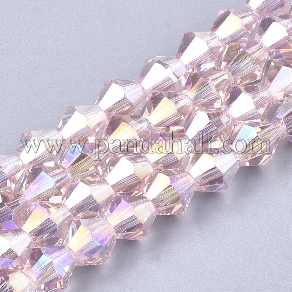 Electroplate Glass Beads Strands, AB Color Plated, Faceted, Bicone, PearlPink, 6x5.5~6mm, Hole: 1mm; about 50pcs/strand, 11.02