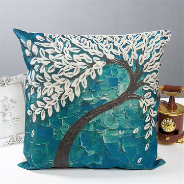 3D Tree Flower Cushion Cover Cotton Linen Pillow Case