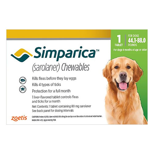 Simparica Chewable Tablet For Dogs 44.1-88 Lbs (Green) 3 Pack