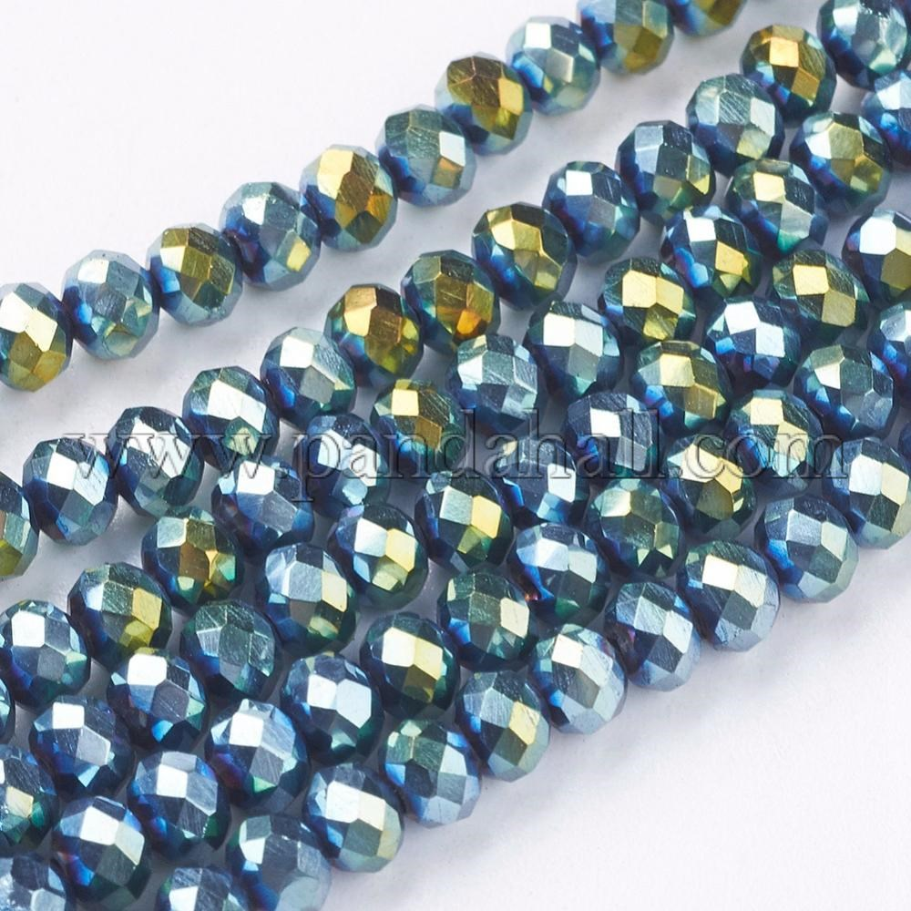 Electroplate Glass Beads Strands, Faceted, Rondelle, Blue Plated, 4x3mm, Hole: 1mm; about 140~145pcs/strand, 18.9