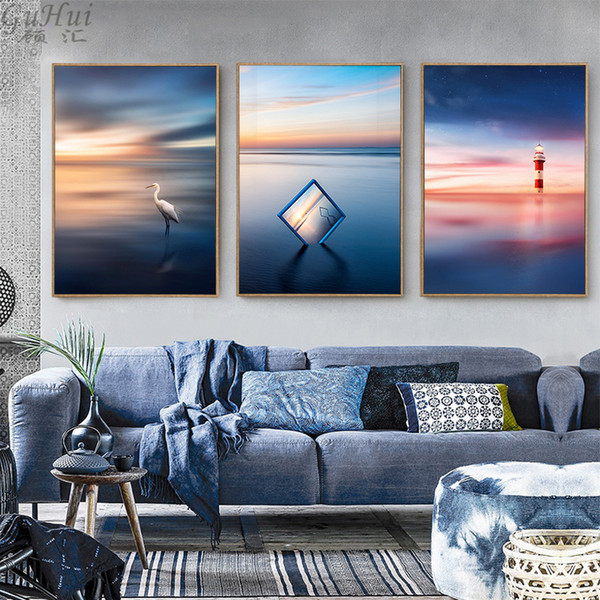 scandinavian beautiful sea sunrise lighthouse canvas painting home living room seagull pictures decorative landscape art posters