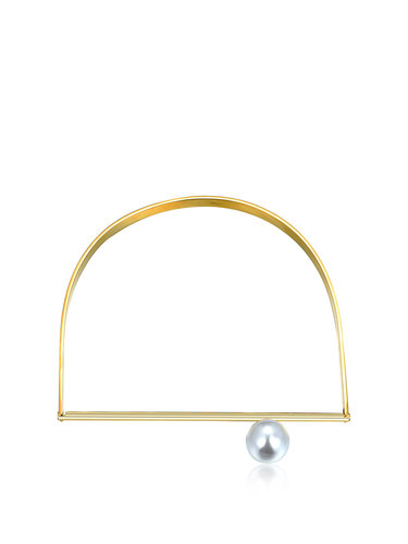Golden Synthetic Materials Pearl D Shape Choker