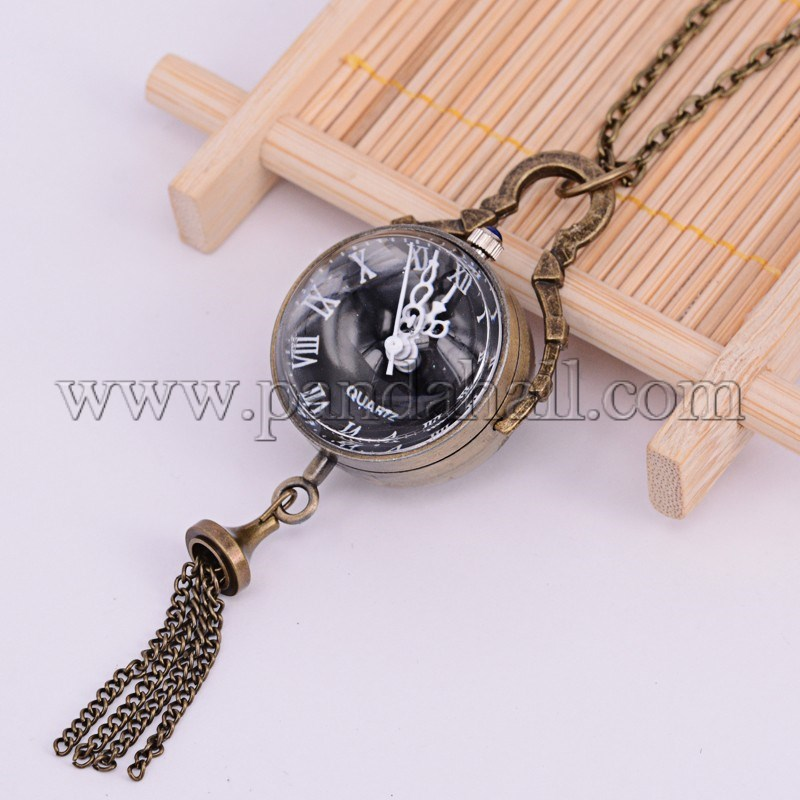 Alloy Flat Round Pendant Necklace Quartz Pocket Watch, with Iron Chains, Antique Bronze, 31.1~31.8