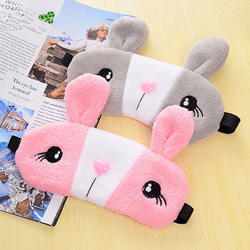 Kawaii Cartoon Solid Rabbit Face Shaped Eye Mask Relax Sleeping Eyepatch With Ice Pack