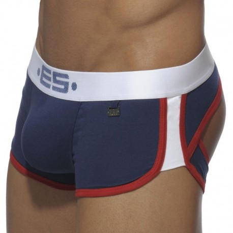 ES Collection Double Side Bottomless Boxer - Navy - White S