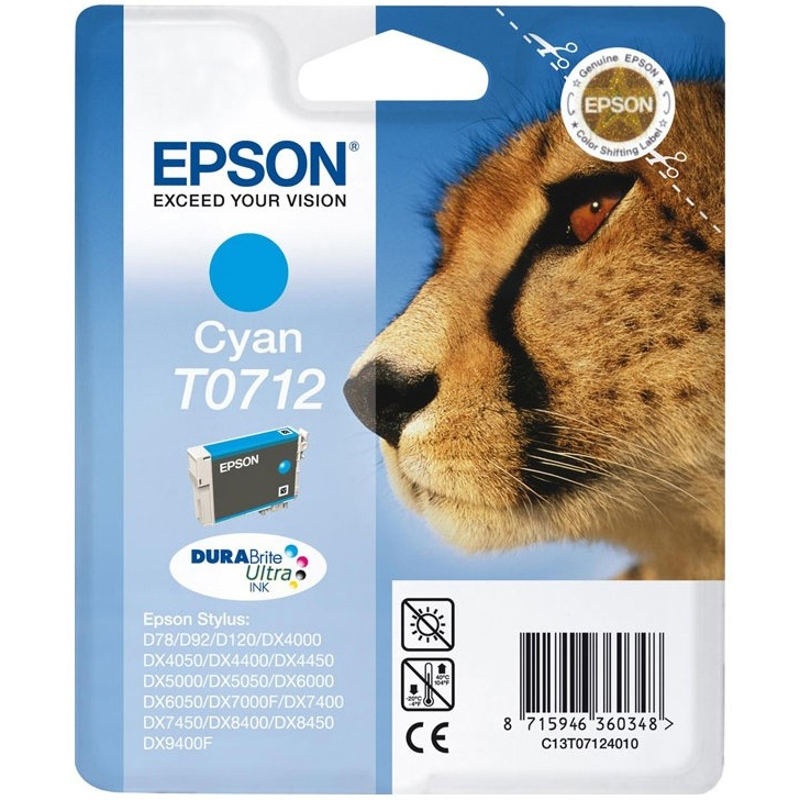 Epson Original T0712 Cheetah Ink Cartridge 5.5ml Cyan