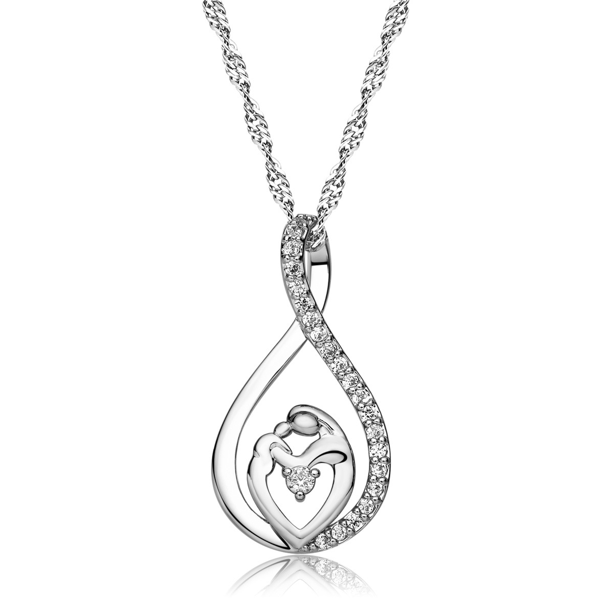 Mother's Day Silver Mother and Child Love Heart Pendant Necklace Gifts