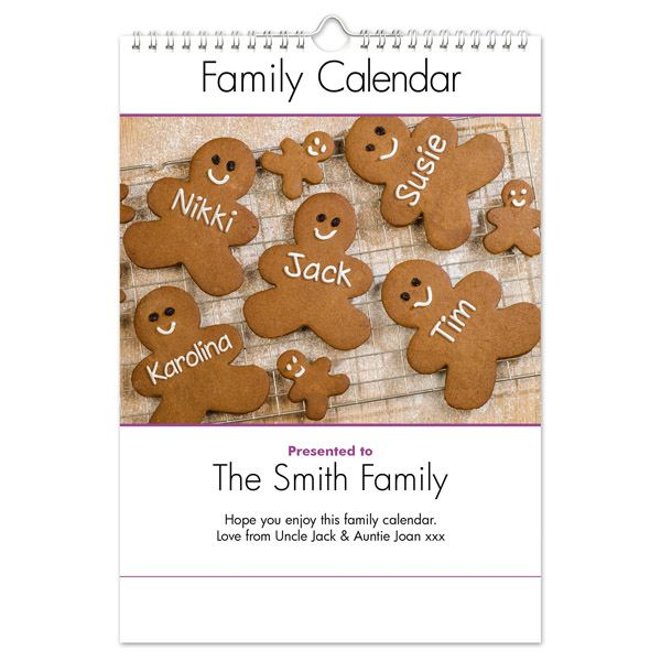 Personalised Family Calendar Family of 4