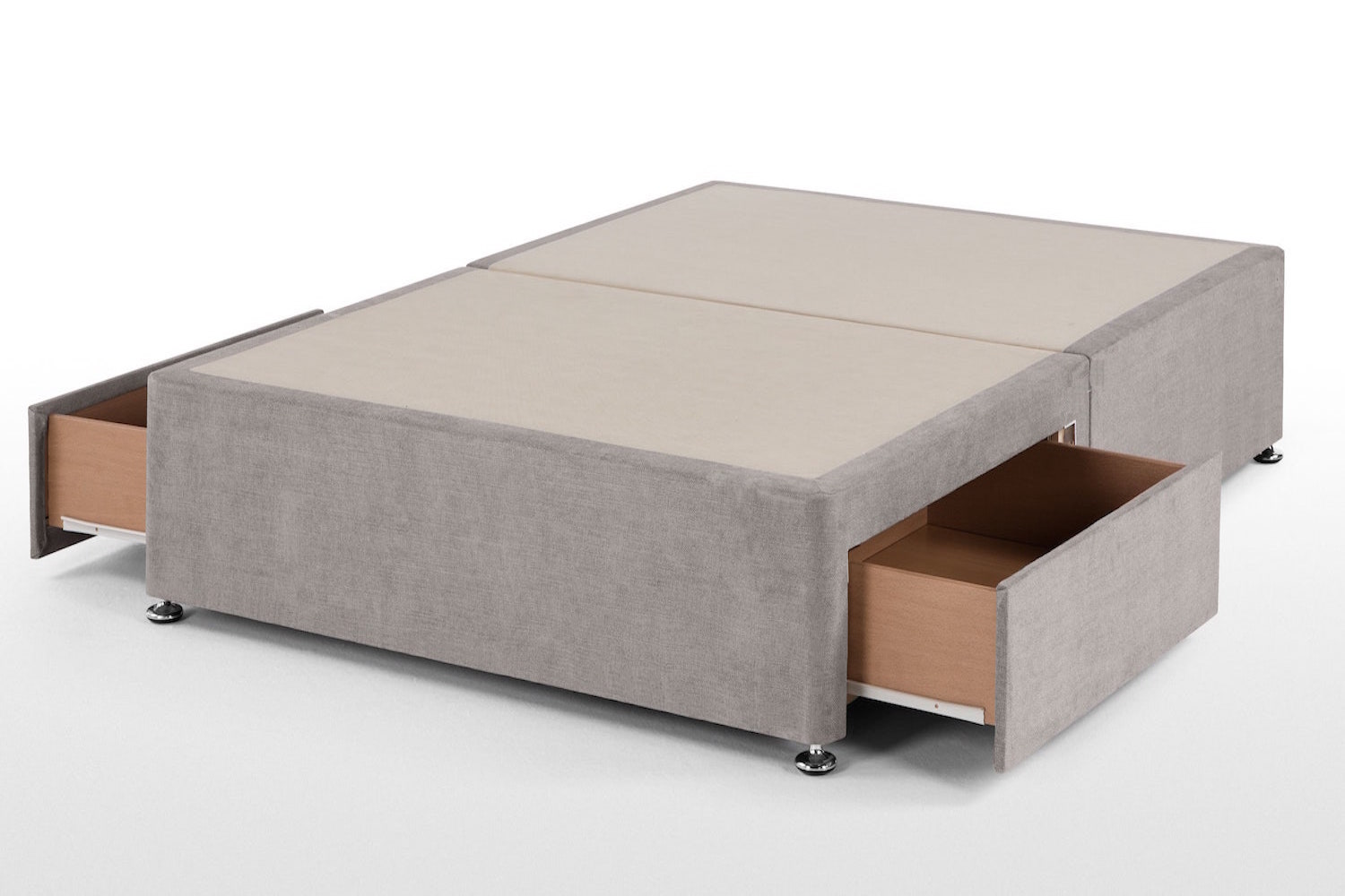 Linen Fabric Universal Divan Base -King Size-2 Drawers Same Side